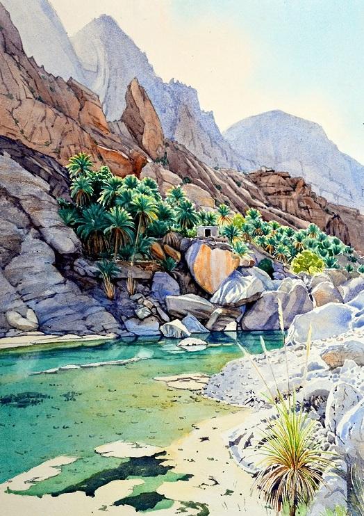Wadi Tiwi, Oman. Watercolour 52 x 72cm
