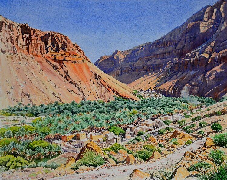Wadi Tiwi Villages Watercolour 63 x 51cm