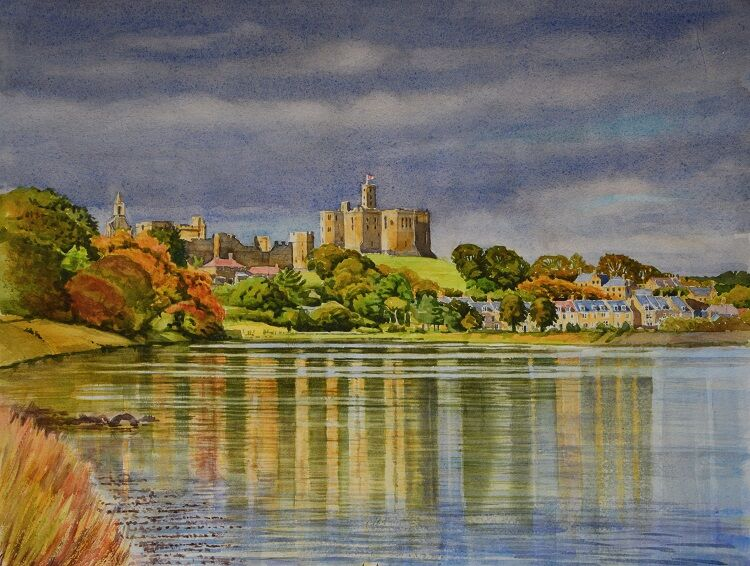 Warkworth Castle, Northumberland  Watercolour 56 x 43cm