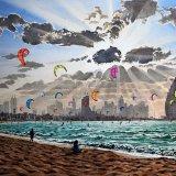 Windy afternoon, Dubai. Watercolour 67 x 48cm