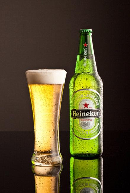Chilled Heineken Lager.