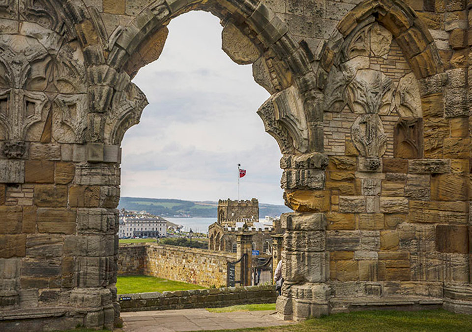 Whitby Abbey, St Marys Church, Royal Hotel and view to Sandsend