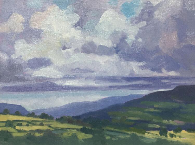 dawn harries, oil painting, crickhowell sky, landscape painting, cloudscape