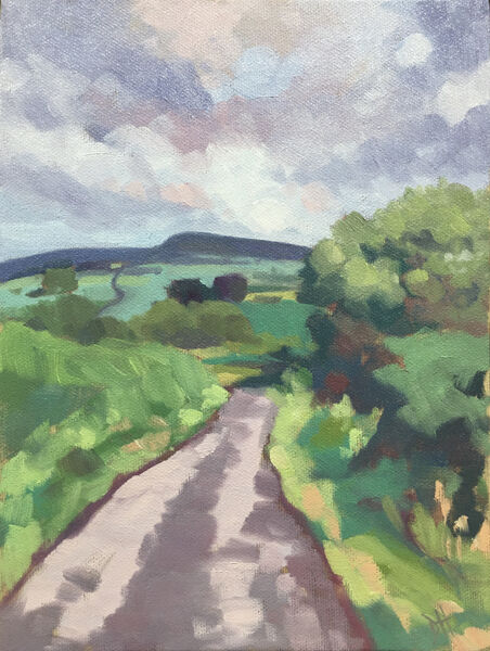 dawn harries, oil painting, countryroad, landscape painting, after the summer rain