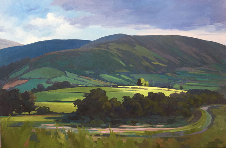 dawn harries, break in the clouds, oil painting, landscape painting, brecon,