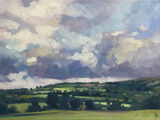 dawn harries, oil painting, clouds over Efail Isaf, landscape painting