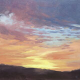 dawn harries, sunrise, dawn over the garth, oil painting, landscape painting,