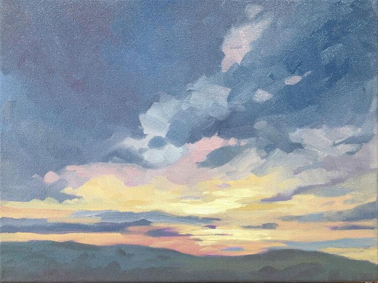 dawn harries, Impressionistic February Sunrise over the Garth Mountain