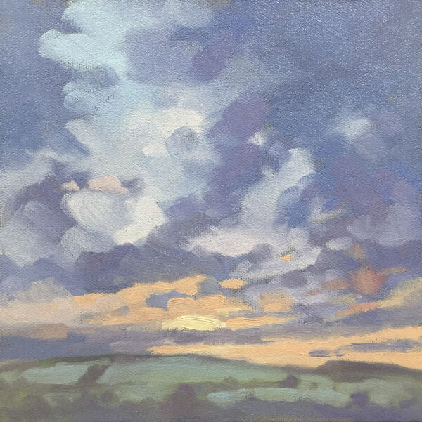dawn harries, oil painting, frosty sunrise glow, landscape painting,