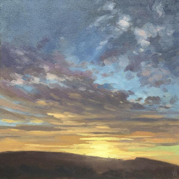 dawn harries, garth sunrise, oil painting, landscape painting, cloud study,