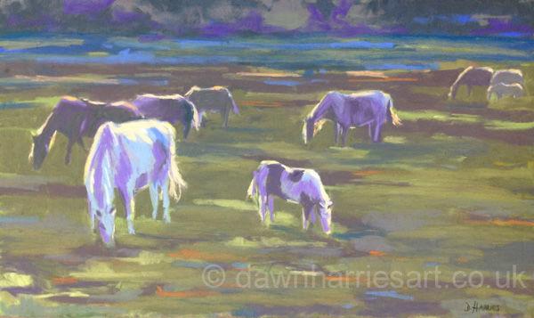 Horses at Sunset II