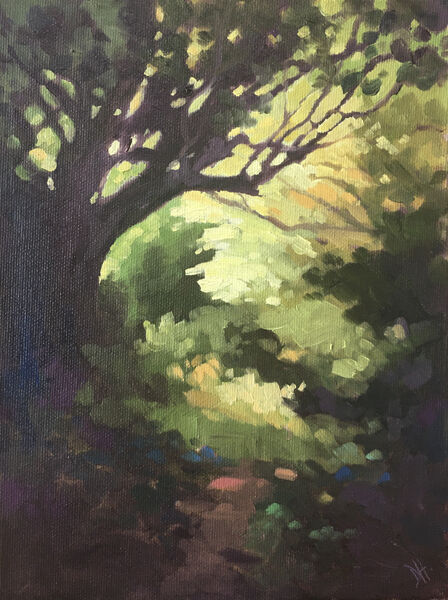 dawn harries, oil painting, into the light, landscape tree painting