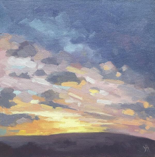 dawn harries, january sunrise, oil painting, landscape painting, cloud study,