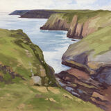 dawn harries, lydstep caverns, oil painting, welsh coast