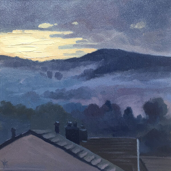 dawn harries, oil painting, misty morning glow, sunrise, landscape painting,