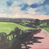 dawn harries, oil painting, pink road, landscape painting