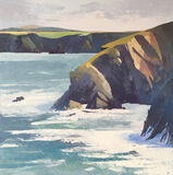 Porthgain Cliff oil painting, palette knife painting with oil and cold wax, impressionistic mark making with thick paint