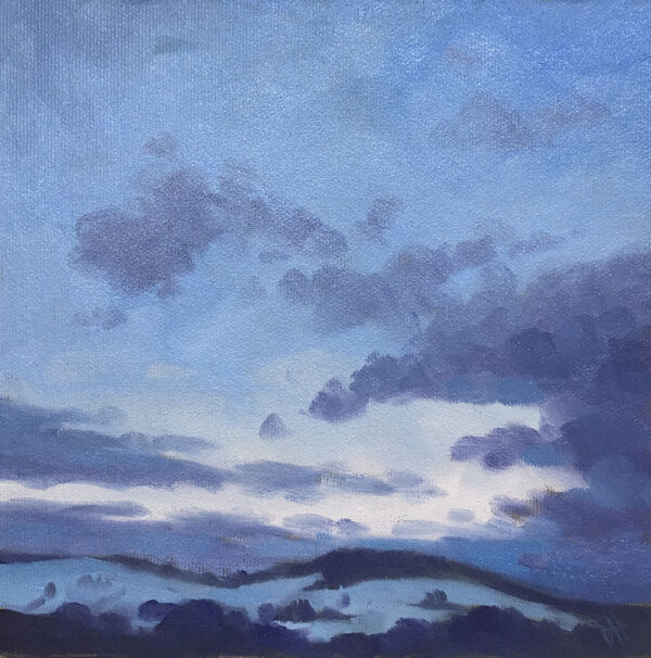 dawn harries, oil painting, winter light, landscape painting, cloud study,