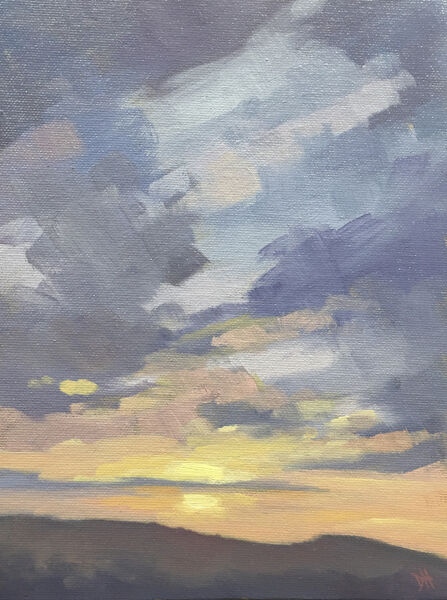 dawn harries, winter sunrise, oil painting, landscape painting,