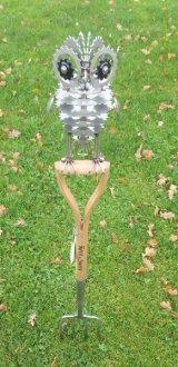 Owl on a Garden Fork