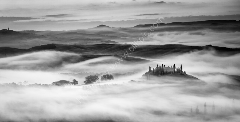 EARLY MORNING MIST - TUSCANY by Mike Arblaster