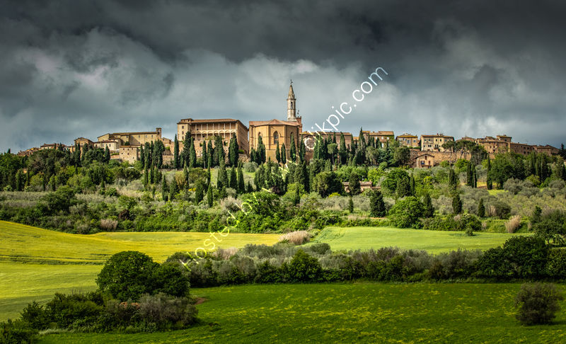 GATHERING STORM OVER PIENZA by Mike Arblaster