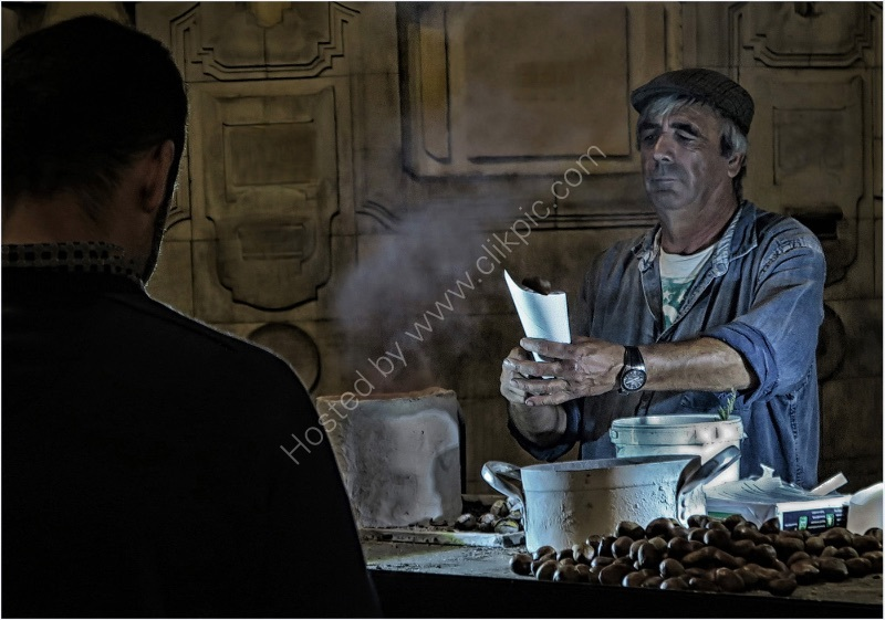 HOT CHESTNUT SELLER by Sue Swain