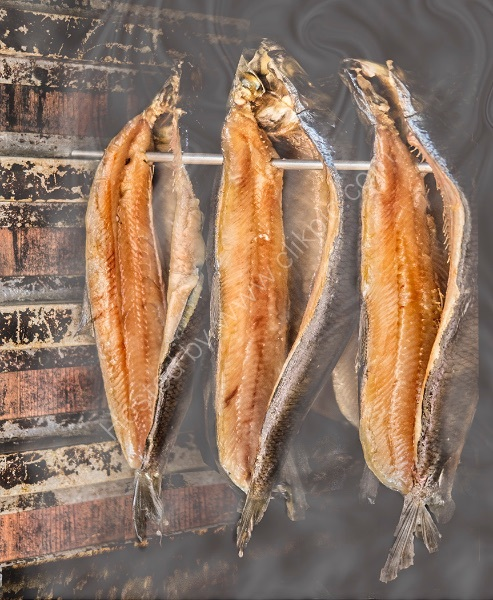 KIPPERS BEING SMOKED by Sue Swain