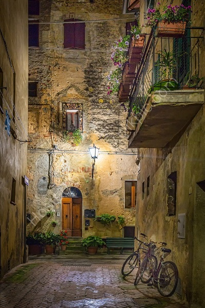NIGHT TIME, THE STREETS OF PIENZA by Ashley Franklin