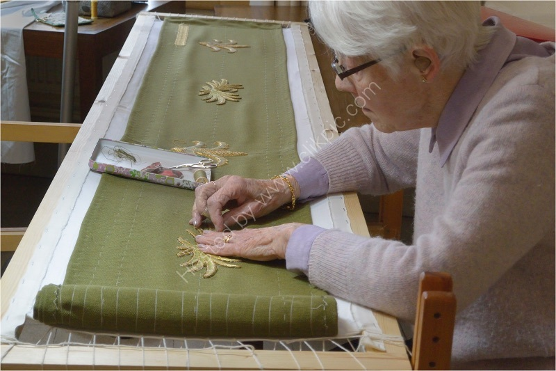 PAM AT HER EMBROIDERY FRAME by Gill Dishart