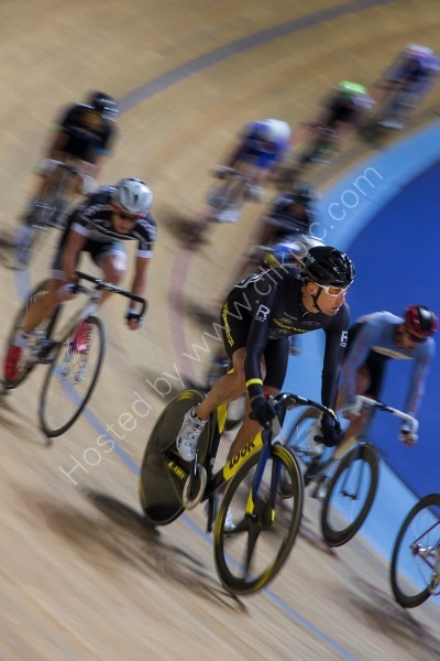 PART OF THE PELOTON AT DERBY VELODROME by Christine Maughan