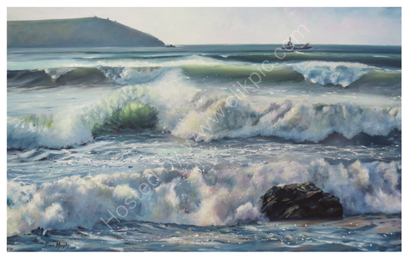 Approaching Swell Polzeath. Framed  £2800