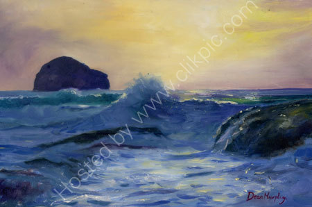 SOLD. Trebarwith strand high tide sunset