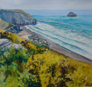 SOLD.Clifftop Gorse over Trebarwith Strand Beach