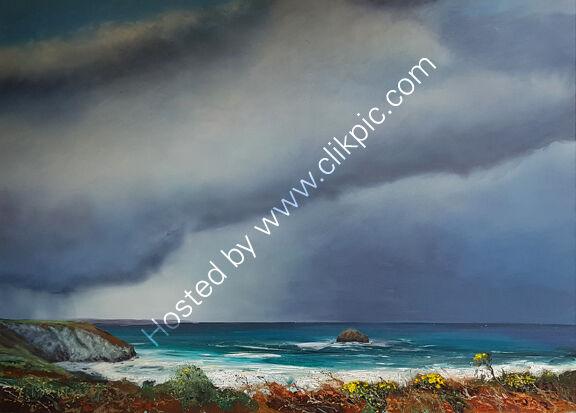 Clifftop Rain cloud Trebarwith Strand