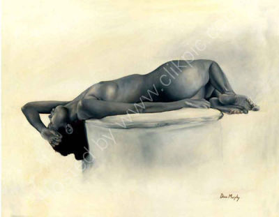 Nude girl lying on back Framed 67cm x 57cm SOLD