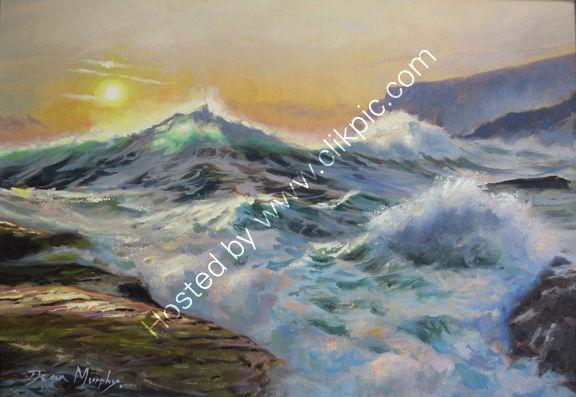 SOLD. Evening surf Trebarwith strand.£550