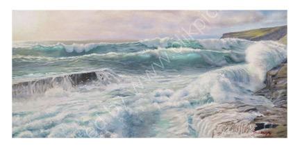 Original SOLD. High Tide Trebarwith Strand Crashing Waves looking towards Penalick Point