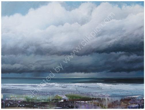 SOLD. Horizon light peaking through the beach rain clouds £1200