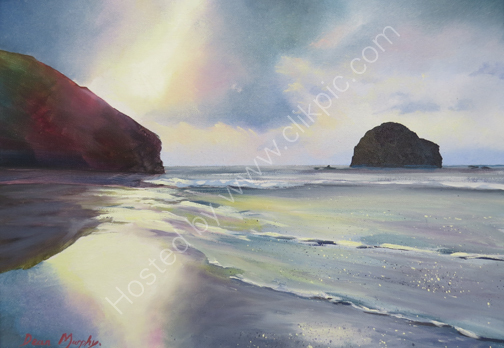 SOLD. Reflection sunset Trebarwith £525
