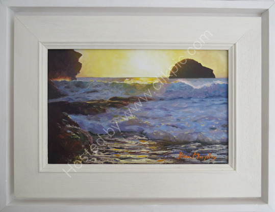 SOLD. Sunset wave Trebarwith gully