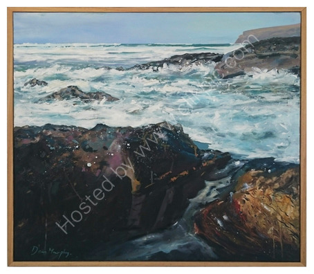 SOLD. Surf rocks towards Hull beach Trebarwith £800