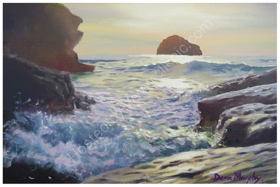 SOLD. Trebarwith Strand Evening Sunlight