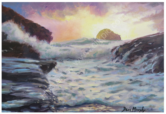 Trebarwith Strand Gully Storm Sunset. £325