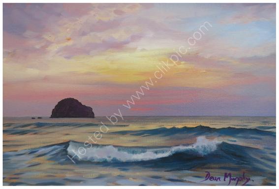 Original SOLD .Trebarwith Strand Pink Sunset