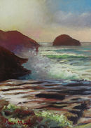 SOLD.Trebarwith strand high tide sunset £250