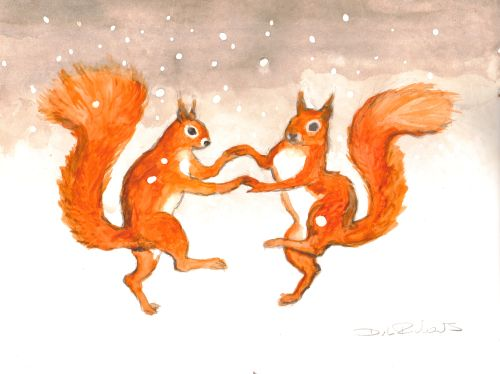 Squirrels Dancing In The Snow