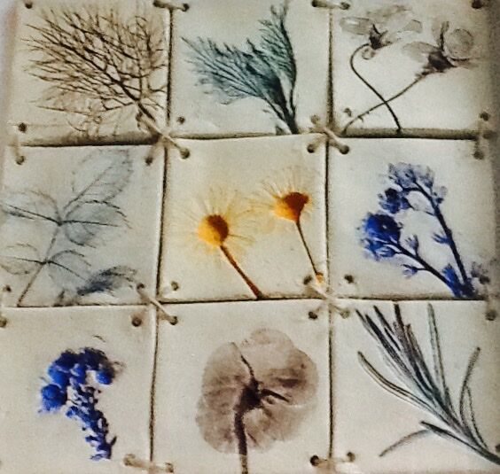 Nature printed tile mosaic picture detail