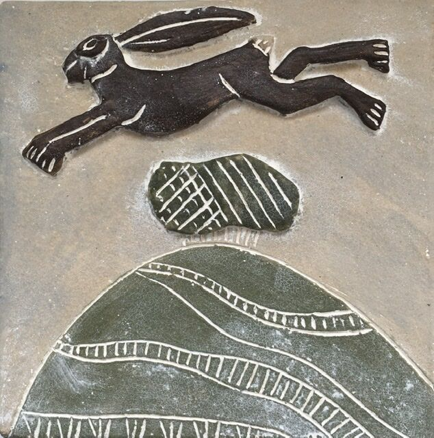 Leaping hare wall plaque