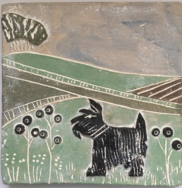 Dog out and about wall plaque